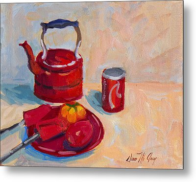 Study In Red Metal Print by Diane McClary