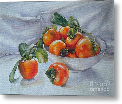 Summer Harvest  1 Persimmon Diospyros Metal Print by Sandra Phryce-Jones