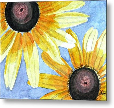 Metal Print featuring the painting Summer Susans by Angela Davies