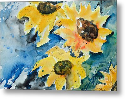 Metal Print featuring the painting Sunflowers by Ismeta Gruenwald