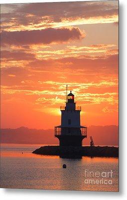 Sunrise At Spring Point Lighthouse Metal Print