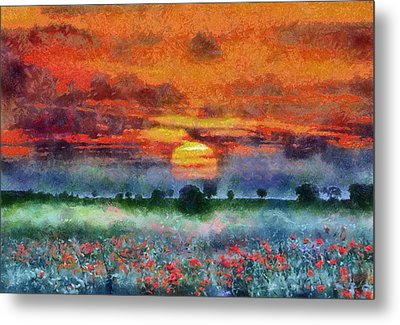 Metal Print featuring the painting Sunset by Georgi Dimitrov
