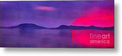 Sunset On Balaton Lake Metal Print by Odon Czintos