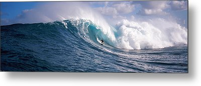 Surfer In The Sea, Maui, Hawaii, Usa Metal Print by Panoramic Images