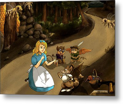 Metal Print featuring the painting Tammy Meets Cedric The Mongoose by Reynold Jay