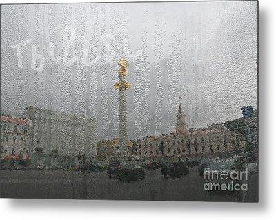 Tbilisi Through The Window In Rainy Autumn Metal Print by Lali Kacharava