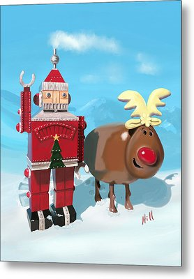 The Adventures Of Oh Deer And Robo Santa Metal Print by Kevin Hill