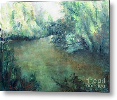 Metal Print featuring the painting The Creek At Dawn by Mary Lynne Powers