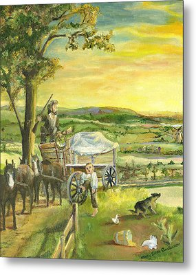Metal Print featuring the painting The Farm Boy And The Roads That Connect Us by Mary Ellen Anderson