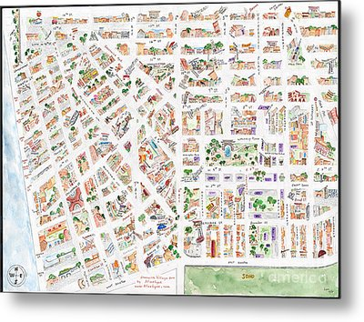 The Greenwich Village Map Metal Print by AFineLyne