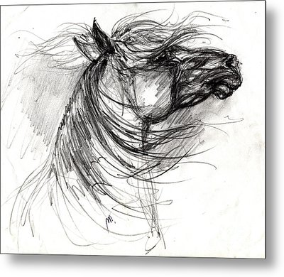 The Horse Sketch Metal Print by Angel  Tarantella
