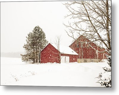The Red Barn Metal Print by Nick Mares