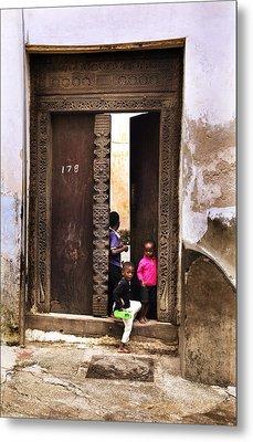 Metal Print featuring the photograph Kids Playing Zanzibar Unguja Doorway by Amyn Nasser