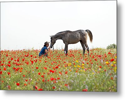 Three At The Poppies' Field... 4 Metal Print by Dubi Roman