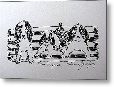 Three Puppies Metal Print by Patricia Januszkiewicz