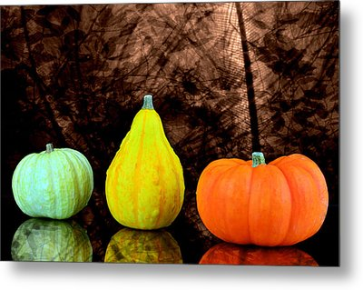 Three Small Pumpkins  Metal Print by Tommytechno Sweden
