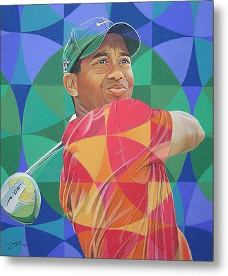 Metal Print featuring the drawing Tiger Woods by Joshua Morton
