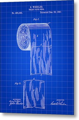 Toilet Paper Roll Patent 1891 - Blue Metal Print by Stephen Younts