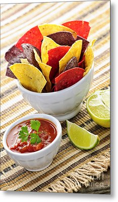 Tortilla Chips And Salsa Metal Print
