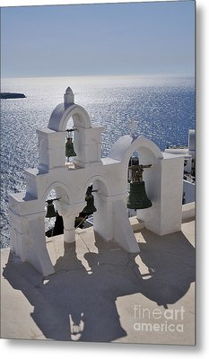 Traditional Belfry In Oia Town Metal Print