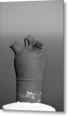 Traditional Roof Pottery In Sifnos Island Metal Print