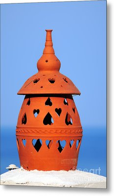 Traditional Roof Pottery In Sifnos Island Metal Print by George Atsametakis