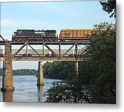 2 Trains Moving Over The Congaree Metal Print