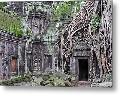 Tree Roots On Ruins At Angkor Wat Metal Print by Sami Sarkis