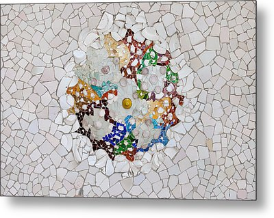 Trencadis Mosaic In Park Guell In Barcelona Metal Print by Artur Bogacki