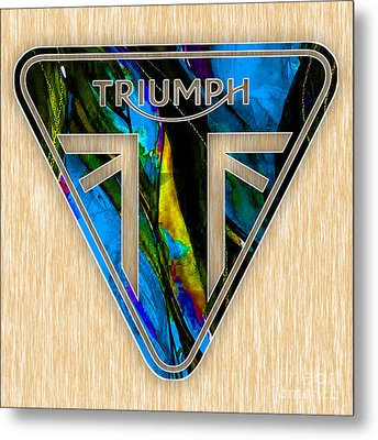 Triumph Motorcycle Badge Metal Print by Marvin Blaine