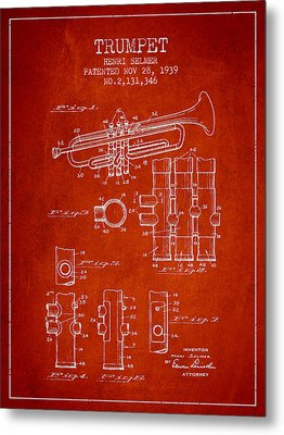 Trumpet Patent From 1939 - Red Metal Print