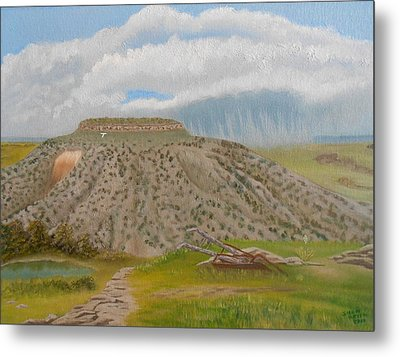 Tucumcari Mountain Reflections On Route 66 Metal Print by Sheri Keith