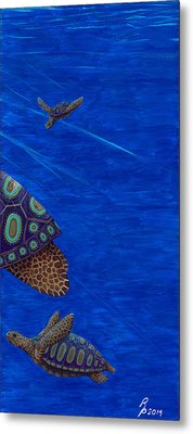 Turtle Painting Bomber Triptych 3 Metal Print by Rebecca Parker