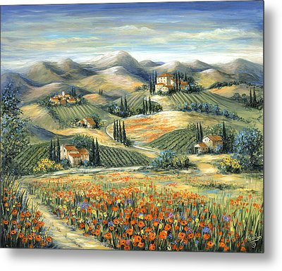 Tuscan Villa And Poppies Metal Print by Marilyn Dunlap