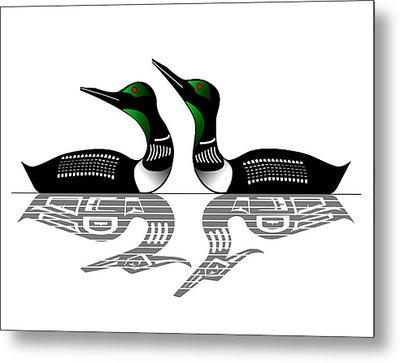 Two Loons Reflected Metal Print