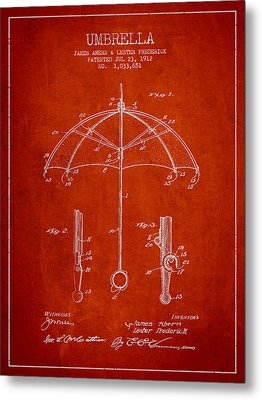 Umbrella Patent Drawing From 1912 Metal Print by Aged Pixel
