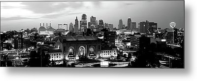 Union Station At Sunset With City Metal Print by Panoramic Images