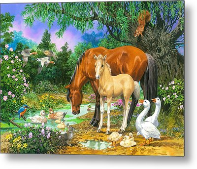 Foal And Mare By The Stream Variant 1 Metal Print by John Francis