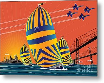 Usna Sunset Sail Metal Print