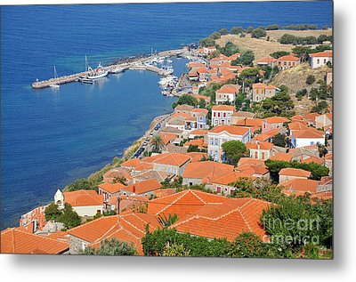 View Of Molyvos Village From The Castle Metal Print