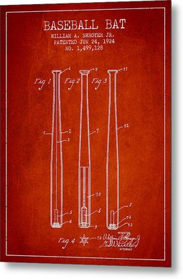 Vintage Baseball Bat Patent From 1924 Metal Print by Aged Pixel
