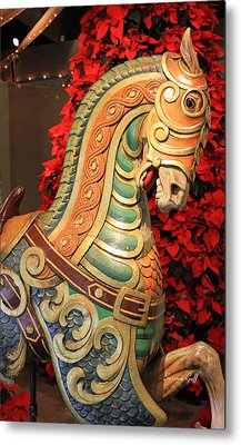 Vintage Carousel Horse Metal Print by Suzanne Gaff