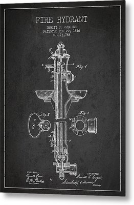 Vintage Fire Hydrant Patent From 1876 Metal Print by Aged Pixel