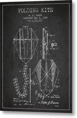 Vintage Folding Kite Patent From 1892 Metal Print