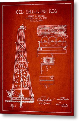 Vintage Oil Drilling Rig Patent From 1916 Metal Print by Aged Pixel