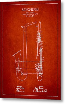 Saxophone Patent Drawing From 1899 - Red Metal Print