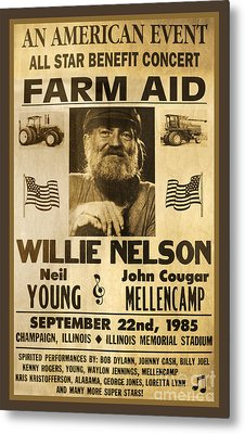 Vintage Willie Nelson 1985 Farm Aid Poster Metal Print by John Stephens