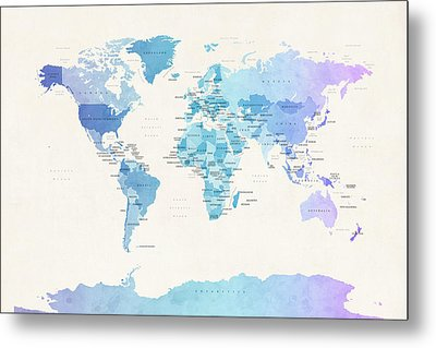 Watercolour Political Map Of The World Metal Print