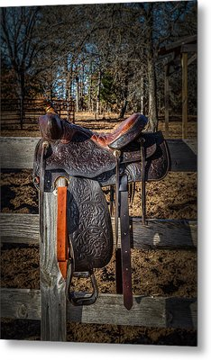Western Saddle Metal Print