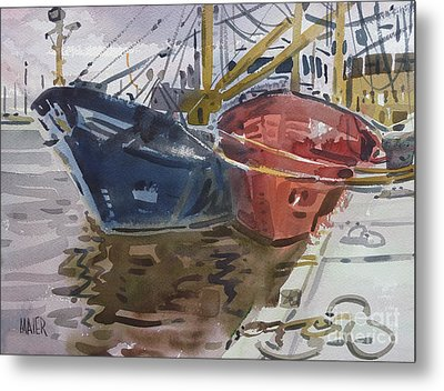 Metal Print featuring the painting Wexford Fishing Boats by Donald Maier